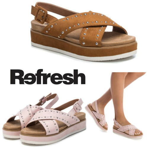 Ladies Sandals Refresh Tan Nude Flat Studs Summer Comfort Fashion Beach Spanish - 53 Main Street