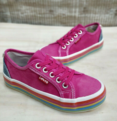 Levis Girls Pink Shoes Trainers Plims Chunky Rainbow Sole Lace Up Canvas Summer - 53 Main Street