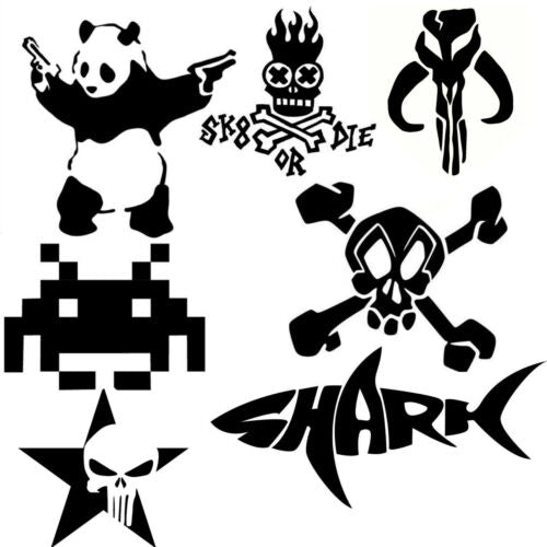 Skull & Bones Stickers Decals Tattoo Bantha Shark Tribal Car Windows Wall Laptop - 53 Main Street