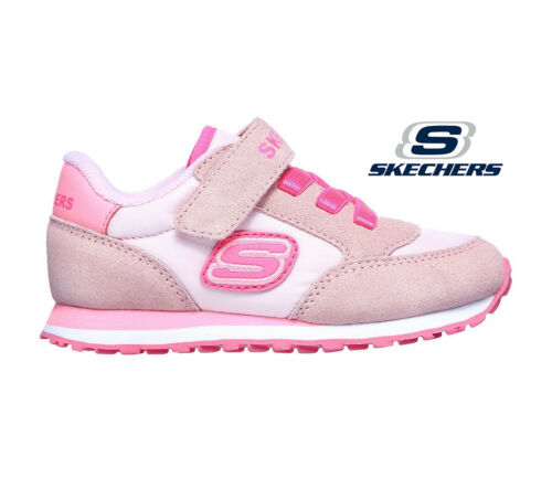 Girls Skechers Trainers Pink Suede Retro Sneaker Strap Light Comfortable Easy On - 53 Main Street