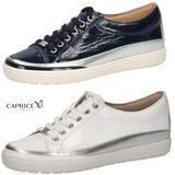 Ladies Caprice Shoes Patent White Navy Soft Comfort Sneakers Walking on Air Size - 53 Main Street