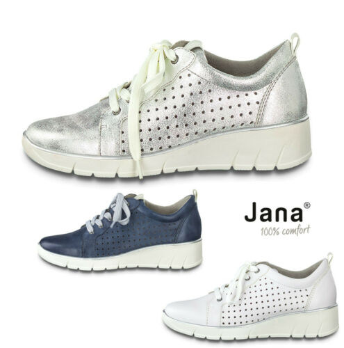 Ladies Lace Up Shoes Jana Leather Wide Fit Shoes Comfort Wedge Heel White Denim - 53 Main Street