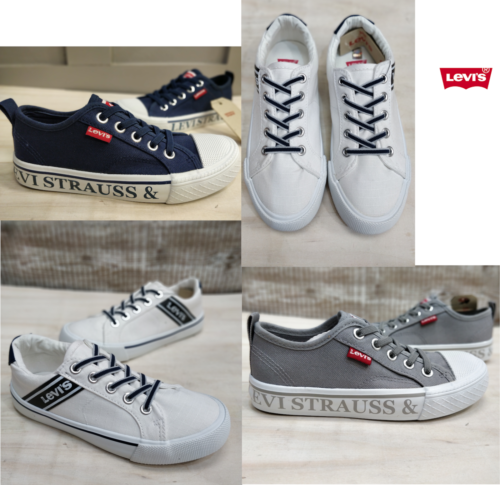 Levis Shoes Boys Girls Navy White Grey Strap Summer Laced Canvas Levi's Size - 53 Main Street