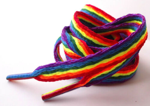 Rainbow Laces Gay Pride Multi Coloured Flat 10mm Shoes Trainers Shoelaces LGBTQ - 53 Main Street
