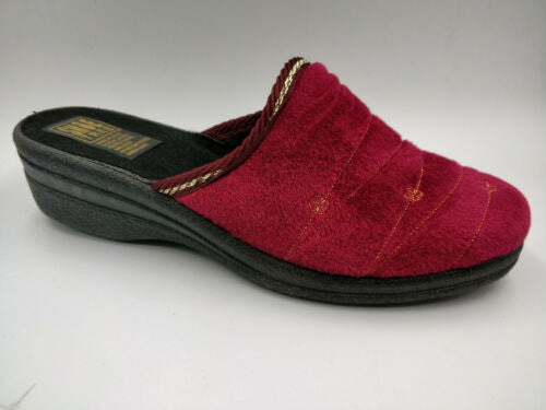 Ladies Bedroom Slippers Mule Wedge Heel Sturdy Sole Slip on Wine Size 4,5,6,7,8 - 53 Main Street