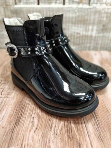 Lelli Kelly Black Boot Patent Short LK3646 Nero Bling Biker Boot Ankle Girls New