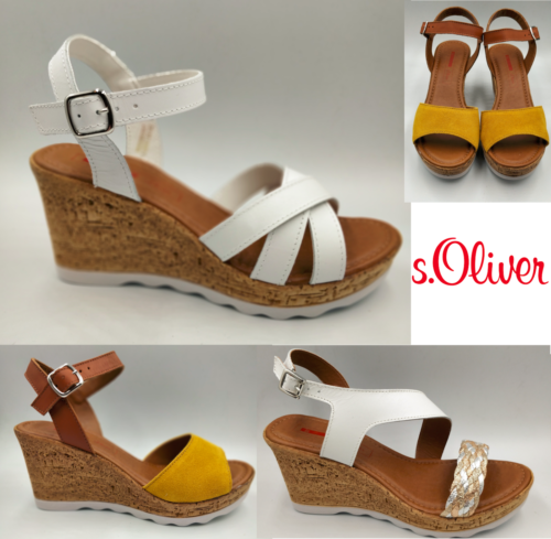 S.Oliver Ladies Sandals Summer Wedge Sandals Heel Yellow White Summer Size - 53 Main Street