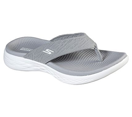 Ladies Skechers Toe Post Mules On the GO 600 Sunny Grey
