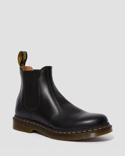 Dr Martens DMs Docs 2976 Black Smooth LEATHER Chelsea Boots Pull On - 53 Main Street