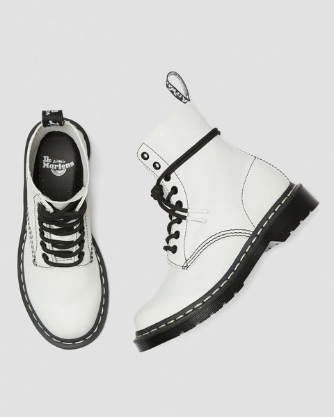 Dr Martens DMs Docs 1460 Optical White Virginia LEATHER ANKLE BOOTS Ladies - 53 Main Street