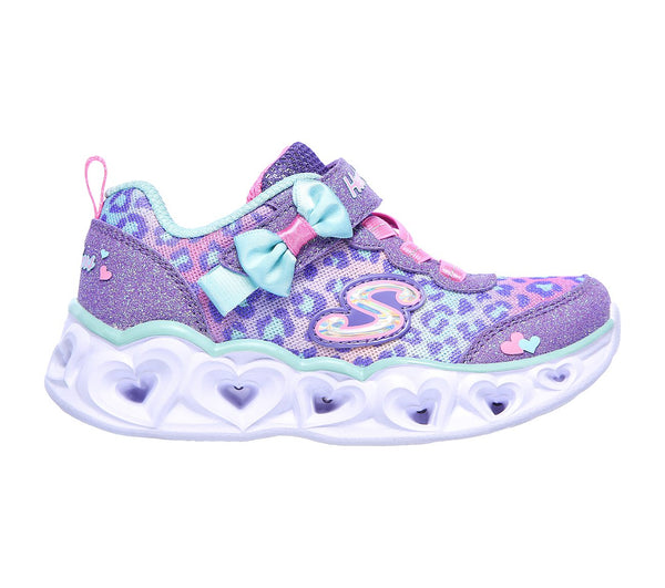 Girls Skechers Trainers Lilac Purple Strap Light Up Easy On Hearts