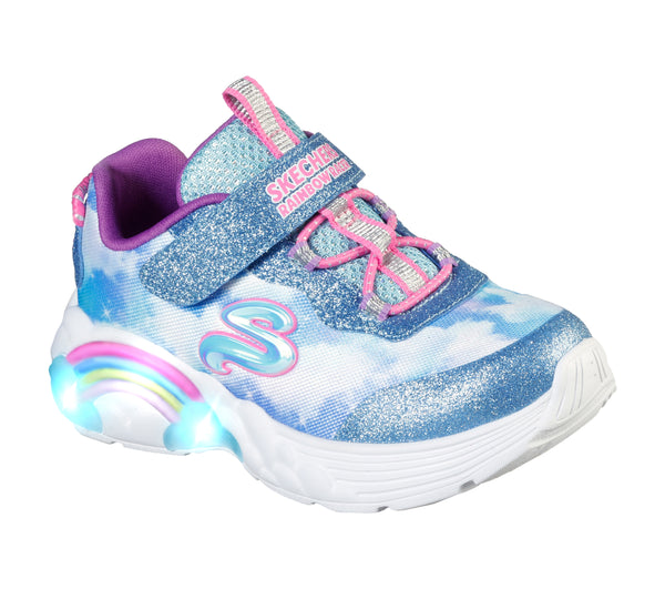 Skechers Infants/Girls trainers Lights Rainbow Racer Blue Pink 302300N