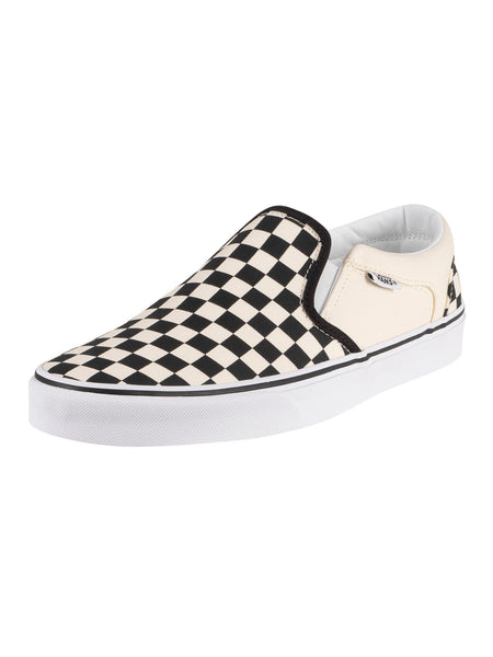 Vans Checker Checkerboard Canvas Trainers Shoes Slip On Beige Black - 53 Main Street