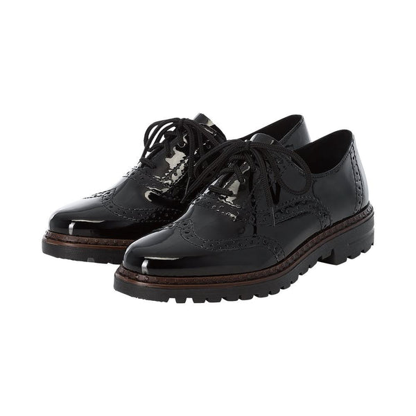 Lace Up Brogues Rieker Black Patent Flat Pumps Ladies Casual Work Smart Shoes Size Womens Work Shoes - 53 Main Street