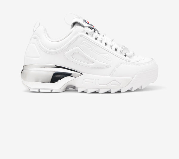 Fila Disruptor 2A Chrome/White/Silver Chunky Trainers White Leather - 53 Main Street