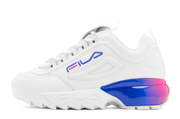 Fila Disruptor 2A Fade Chunky Trainers White/Royal Blue/Magenta - 53 Main Street