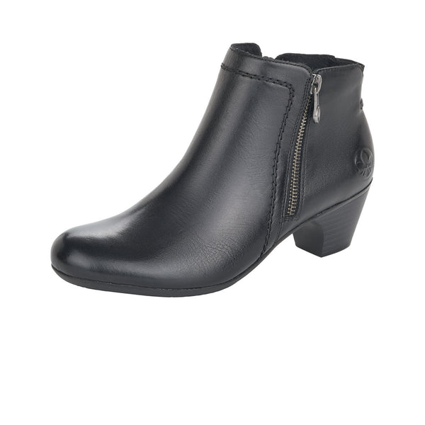 Ladies Rieker Ankle Boots Black Leather Soft Medium Heel - 53 Main Street