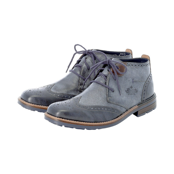 Rieker Mens Boots Blue Combination Brogue Half Short Boot - 53 Main Street