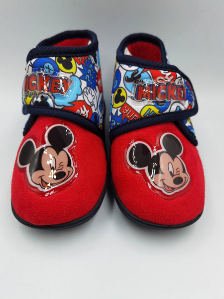 Girls Boys Disney Bedroom Slippers Red Blue Childs childrens Mickey Mouse - 53 Main Street