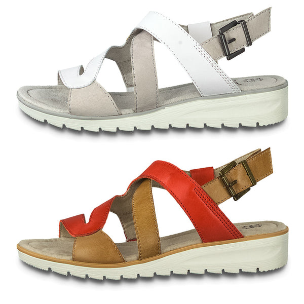 Jana Wider fitting Flat Sandals Lightweight Buckle H Fit Red White Straps - 53 Main Street