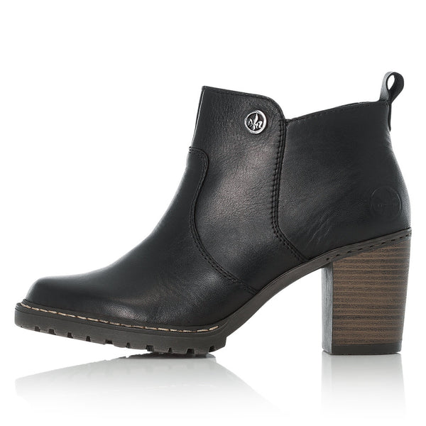 Ladies Rieker Ankle Boots Black Soft Higher Stacked Heel L9283-00 - 53 Main Street