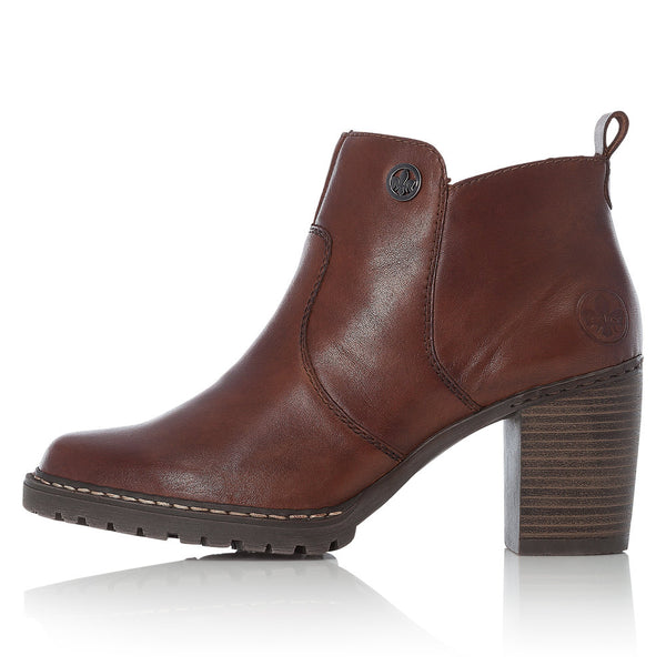 Ladies Rieker Ankle Boots Brown Soft Higher Stacked Heel L9283-25
