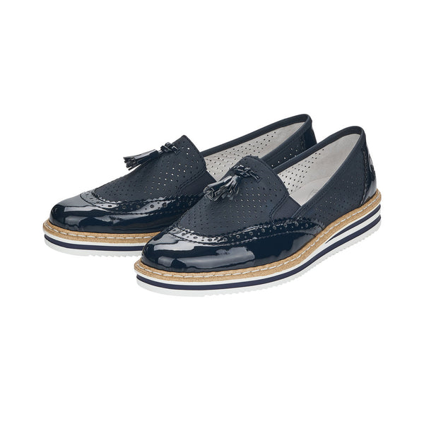 Ladies Rieker Slip on Navy Shoes Brogues N0257-14