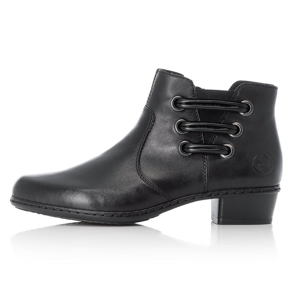 Ladies Rieker Ankle Boots Black Leather Soft Low Heel Y07BO-00