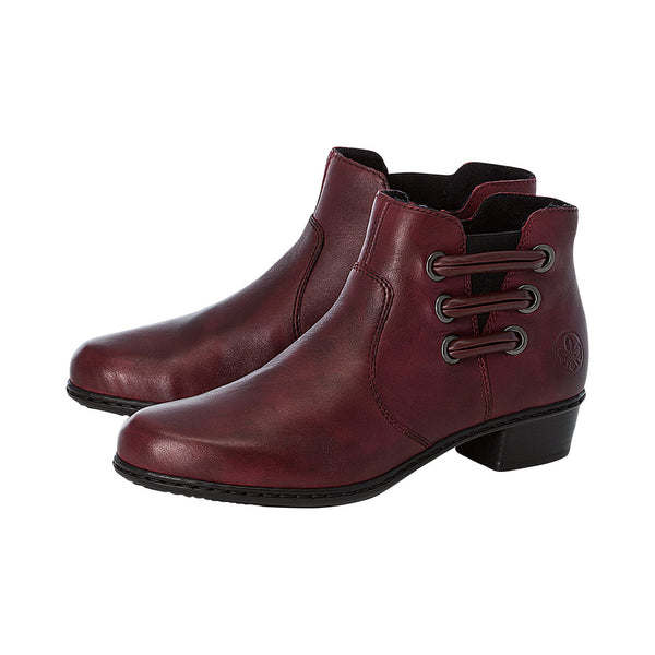 Ladies Rieker Ankle Boots Red Leather Soft Low Heel Y07BO-30 - 53 Main Street
