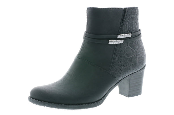 Ladies Rieker Ankle Boots Black Soft Higher Heel - 53 Main Street