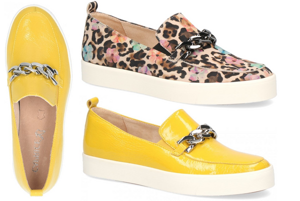 Caprice Ladies Slip On Floral Flower yellow F Fit - 53 Main Street