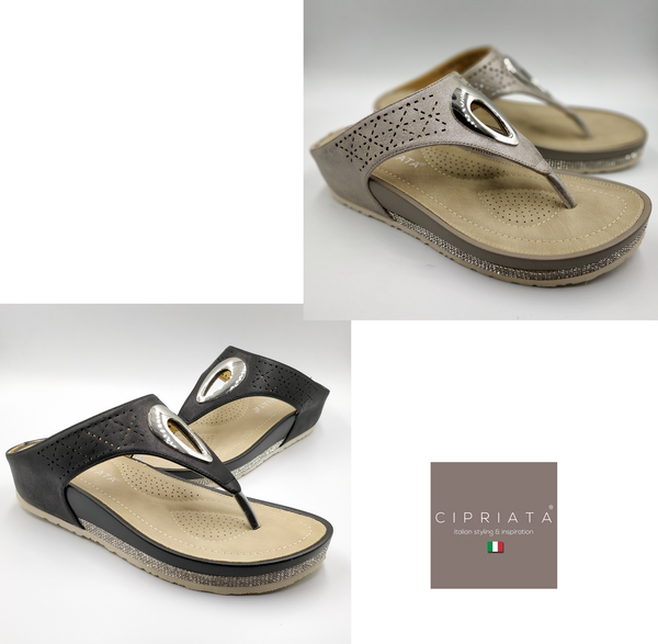 Ladies Toe Post Mules Bronze Black  Cipriata  Sequinned Comfort Summer Slip On - 53 Main Street