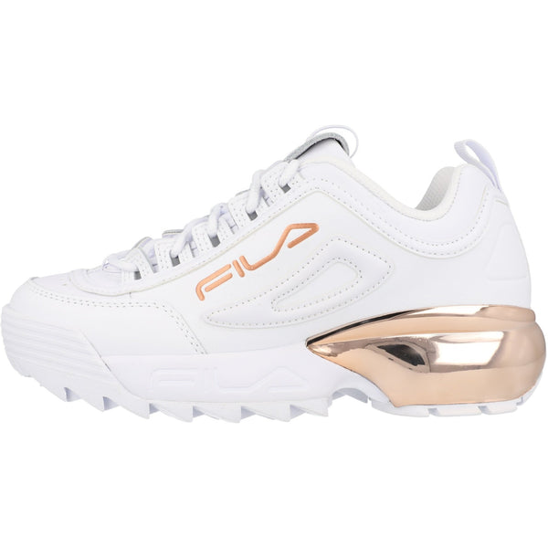 Fila Disruptor 2A Chrome/White Rose Gold Chunky Trainers White Leather - 53 Main Street