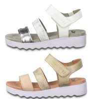 Jana Wider fitting Chunky Sandals Lightweight Velcro H Fit Rose Silver Straps - 53 Main Street