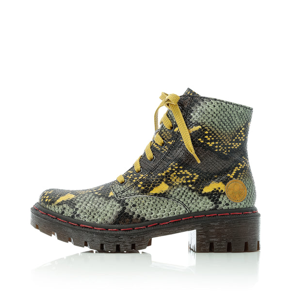 Rieker Boots Multi Snake Print Chunky Military Style Y8746-90