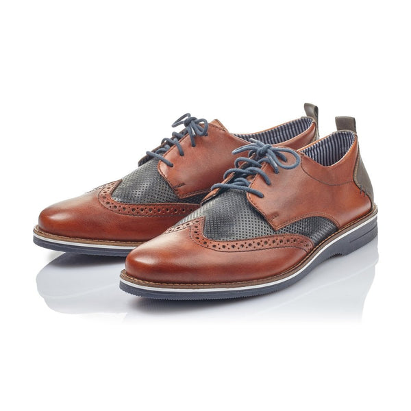 Rieker Mens Brogues Leather Smart Brogues Wide Fit Shoes Laced Brown Combination - 53 Main Street