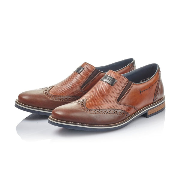 Rieker Mens Brogues Leather Smart Brogues Wide Fit Shoes Brown Slip On - 53 Main Street