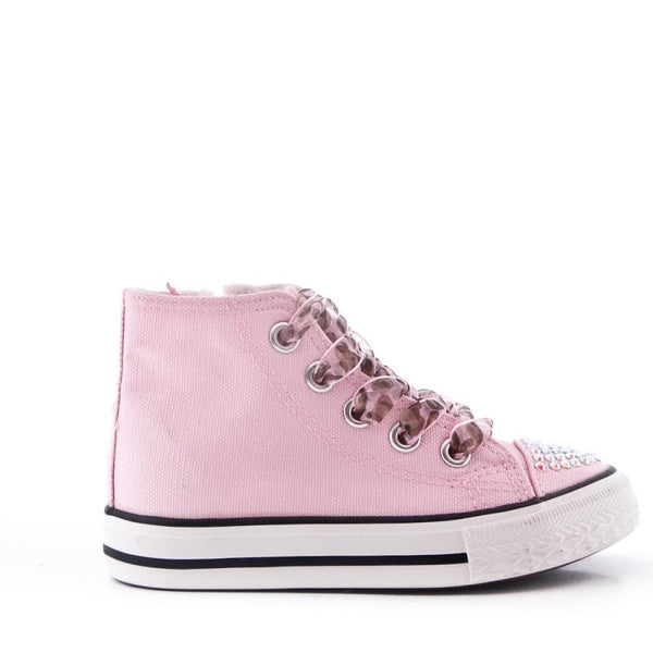 Girls Pink Hi Top Ribbon lace Pink Canvas Two Laces Inside zip