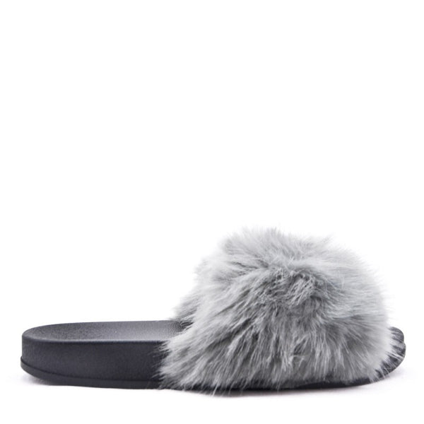 Ladies Bedroom Fluffy Slippers Mule Slip On Grey Fur