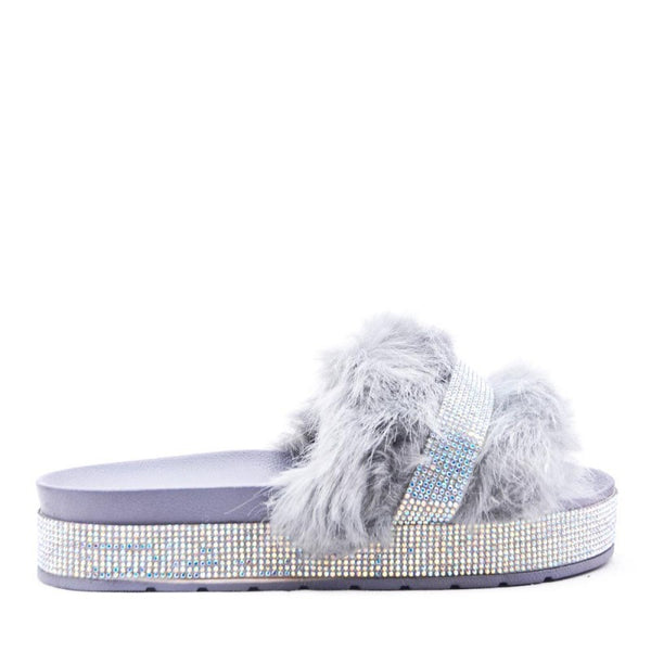 Ladies Bedroom Fluffy Slippers Mule Slip On Grey Fur - 53 Main Street
