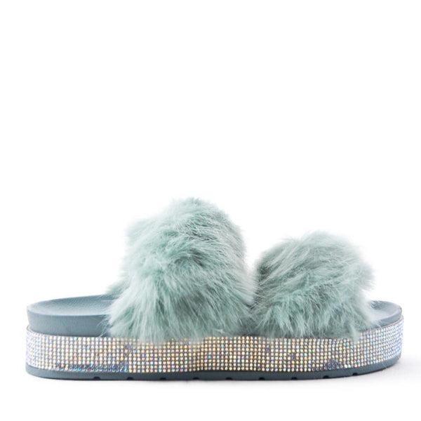 Copy of Ladies Bedroom Fluffy Slippers Mule Slip On Teal Fur - 53 Main Street