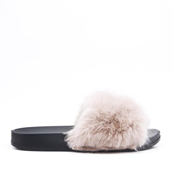 Ladies Bedroom Fluffy Slippers Mule Slip On Beige Fur