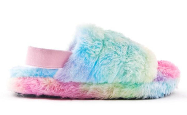 Ladies Bedroom Fluffy Slippers Mule Snug rainbow Fur