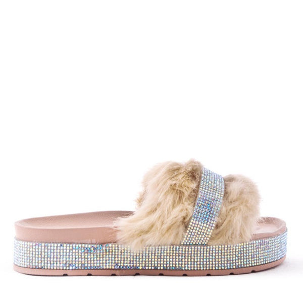 Ladies Bedroom Fluffy Slippers Mule Slip On Beige Tan Fur - 53 Main Street
