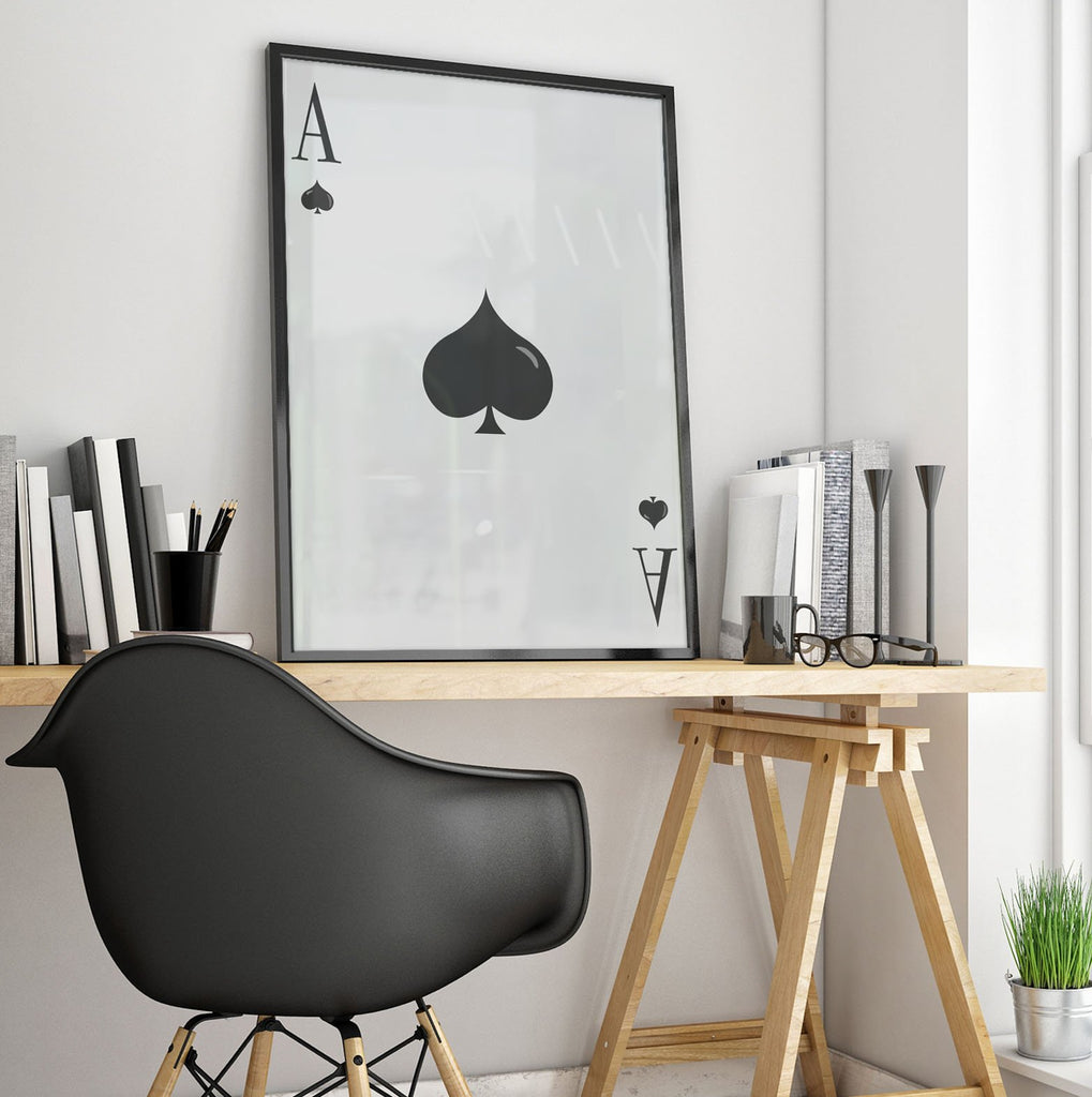 Huge Framed Ace of Spades Poster Print