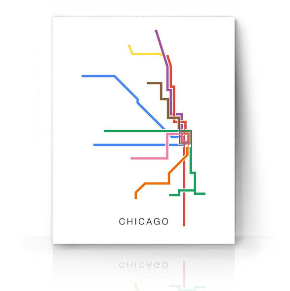 Chicago Minimalist Transit Map