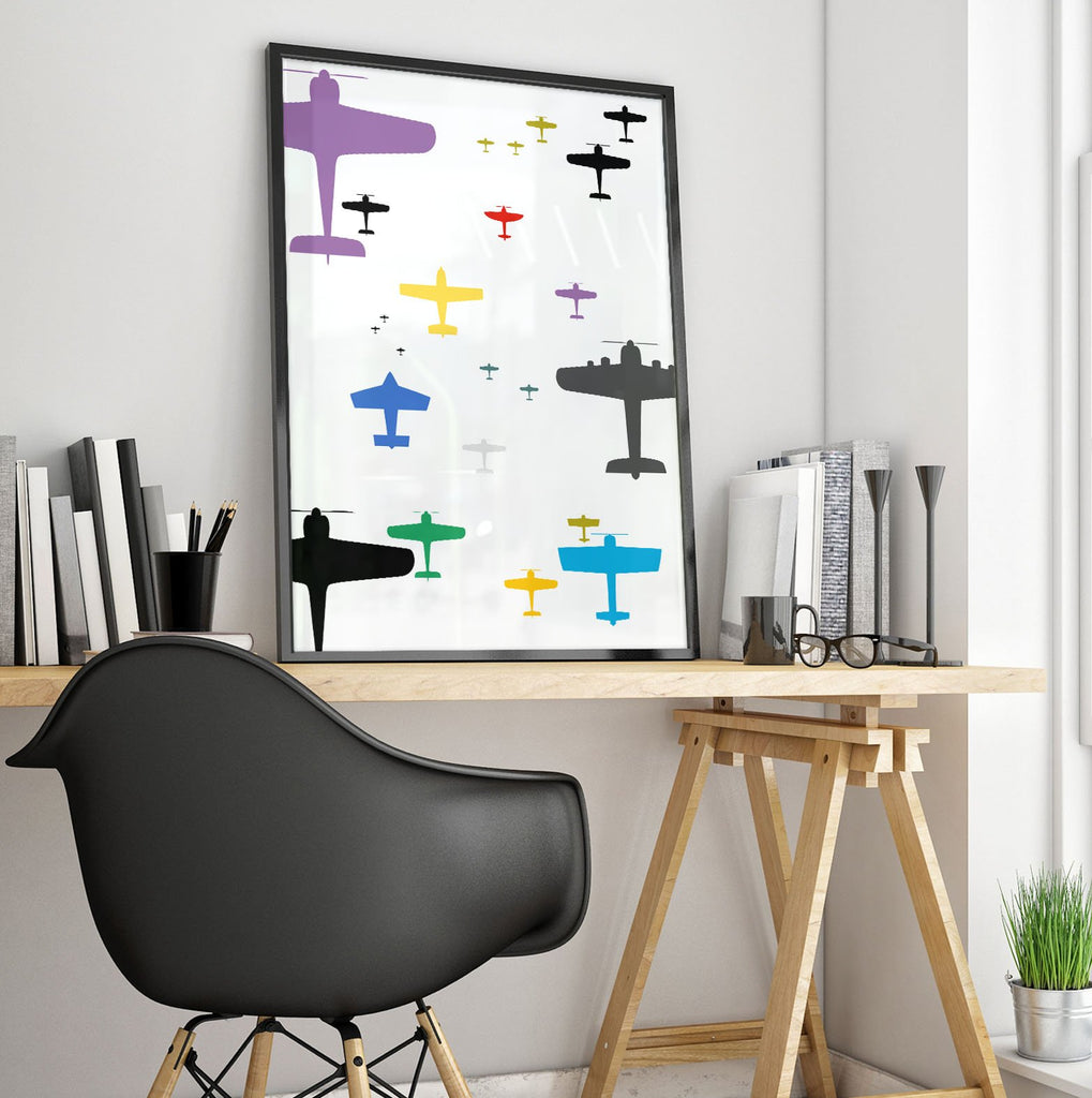 Colored Airplanes Poster