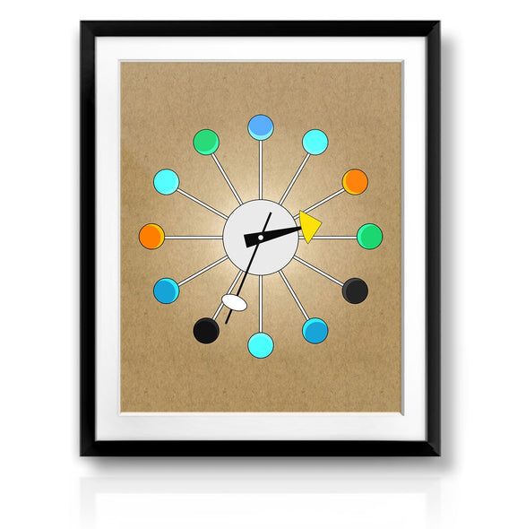 Retro Ball Clock Print