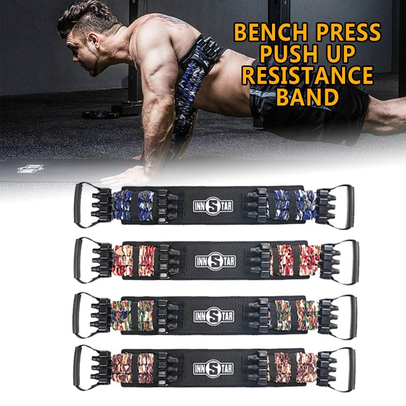 Bench Press Push Up Resistance Band Removable Chest Builder Arm Expander Fitness Home Workout Tranning Fitness Sport Device