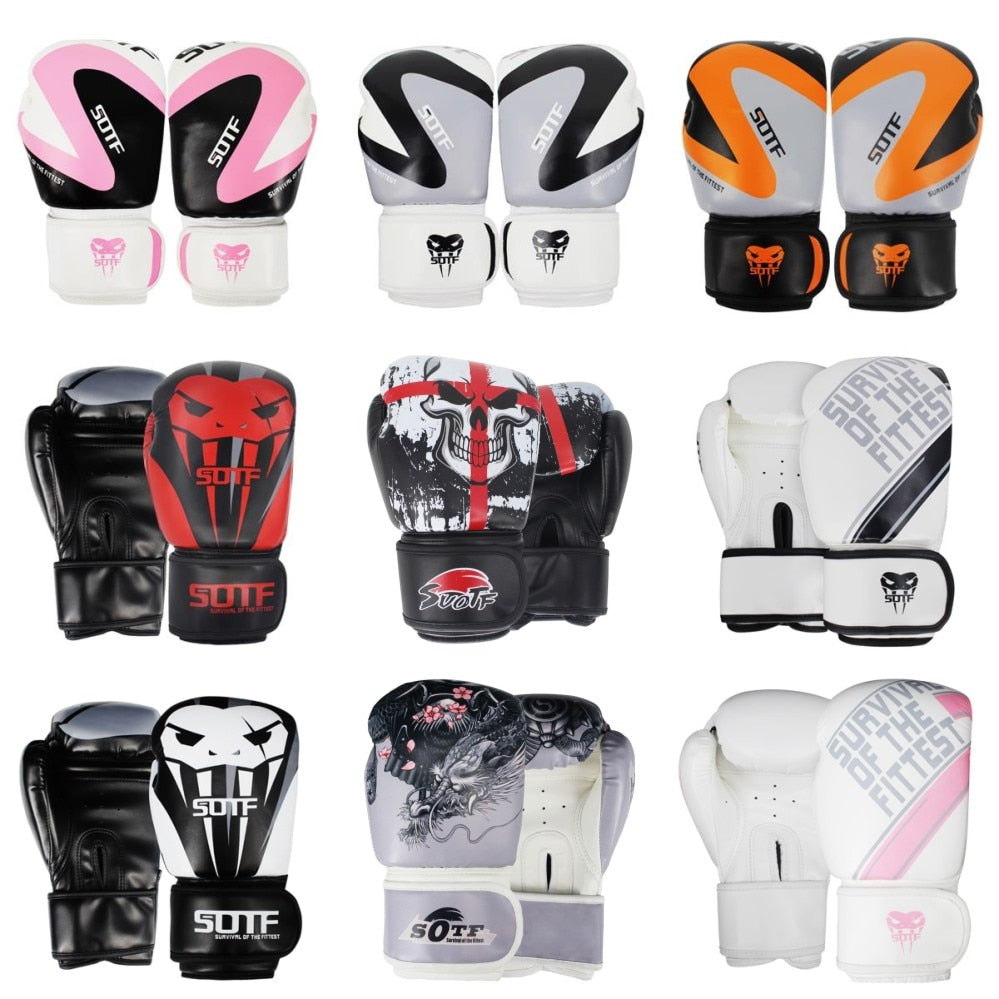 SUOTF MMA Fierce fighting Boxing Sports Leather Gloves Tiger Muay Thai boxing pads fight Women/Men sanda boxe thai glove box mma